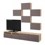 БЕСТО Шкаф для ТВ, комбинация - под беленый дуб/Вальвикен темно-коричневый, направляющие ящика,нажимные
