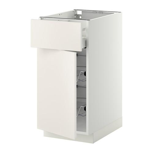 МЕТОД / МАКСИМЕРА Напольн шкаф с пров корз/ящ/дверью - 40x60 см, Веддинге белый, белый