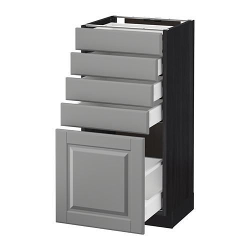 МЕТОД / МАКСИМЕРА Напольный шкаф с 5 ящиками - 40x37 см, Будбин серый, под дерево черный