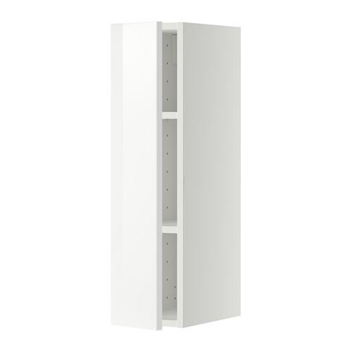 МЕТОД Шкаф навесной с полкой - 20x80 см, Рингульт глянцевый белый, белый