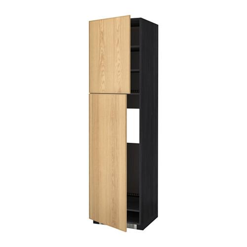 МЕТОД Высокий шкаф д/холодильника/2дверцы - 60x60x220 см, Экестад дуб, под дерево черный