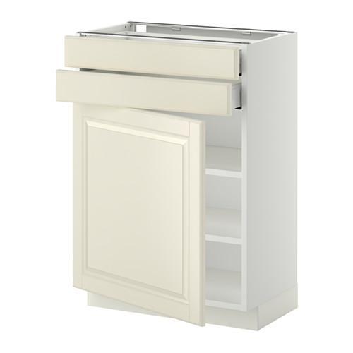 МЕТОД / МАКСИМЕРА Напольный шкаф с дверцей/2 ящиками - 60x37 см, Будбин белый с оттенком, белый