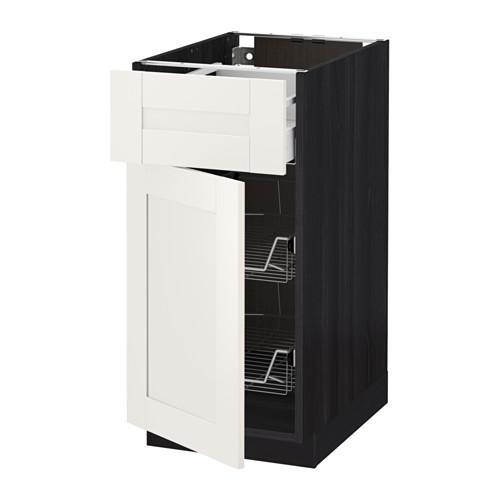 МЕТОД / МАКСИМЕРА Напольн шкаф с пров корз/ящ/дверью - 40x60 см, Сэведаль белый, под дерево черный