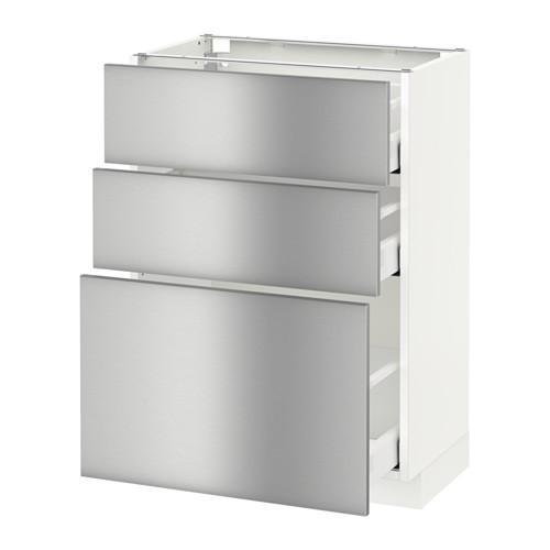 МЕТОД / МАКСИМЕРА Напольный шкаф с 3 ящиками - 60x37 см, Гревста нержавеющ сталь, белый