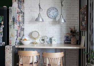 阁楼风格的用餐区设有厨房