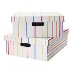 ЛИНГУ Коробка для одежды с крышкой - в полоску