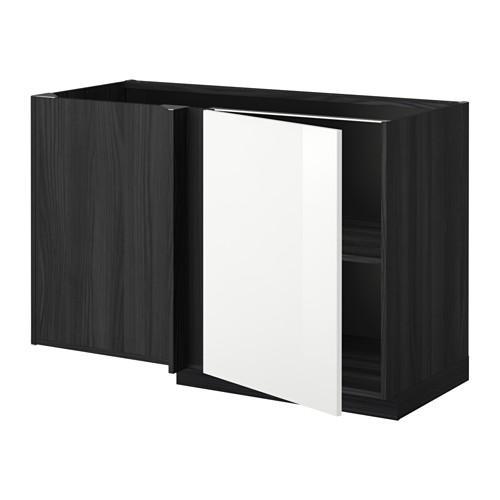 МЕТОД Угловой напольный шкаф с полкой - Рингульт глянцевый белый, под дерево черный