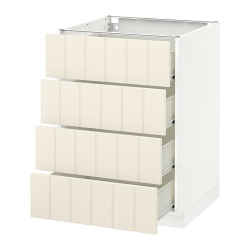 VERFAHREN / FORVARA Unterschrank Frontplatte 4 / 4 Schublade - weiß, mit einem Hauch von Weiß Hitarp, 60x60 cm