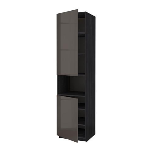 Methode Hoogte Kast D Magnetron 2 Deuren Planken Hout Zwart Glanzend Grijs Ringult 60x60x240 Cm