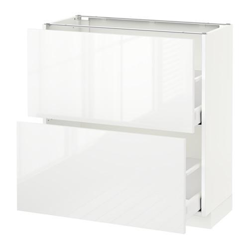 МЕТОД / МАКСИМЕРА Напольный шкаф с 2 ящиками - 80x37 см, Рингульт глянцевый белый, белый