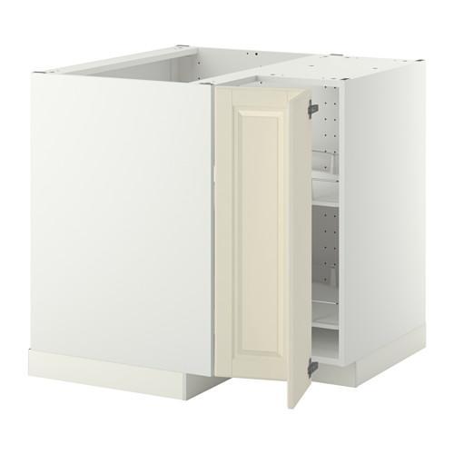 МЕТОД Угл напольн шкаф с вращающ секц - Будбин белый с оттенком, белый