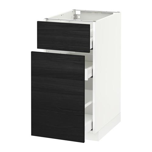 МЕТОД / МАКСИМЕРА Напольн шкаф/выдвижн секц/ящик - 40x60 см, Тингсрид под дерево черный, белый