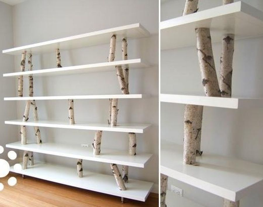 The idea of ​​the design of the rack IKEA shelves and natural birch