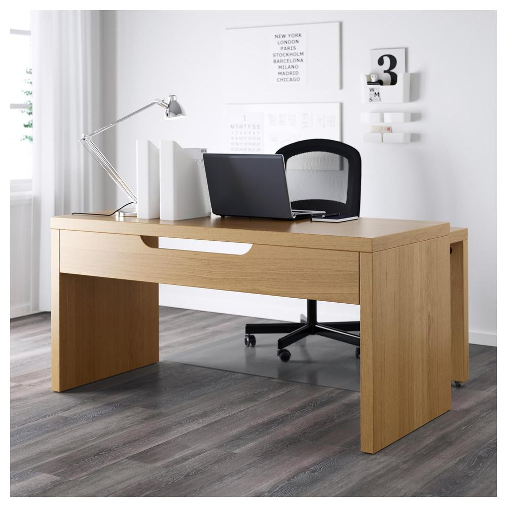 MALM Desk With Pull Out Panel   Oak Veneer