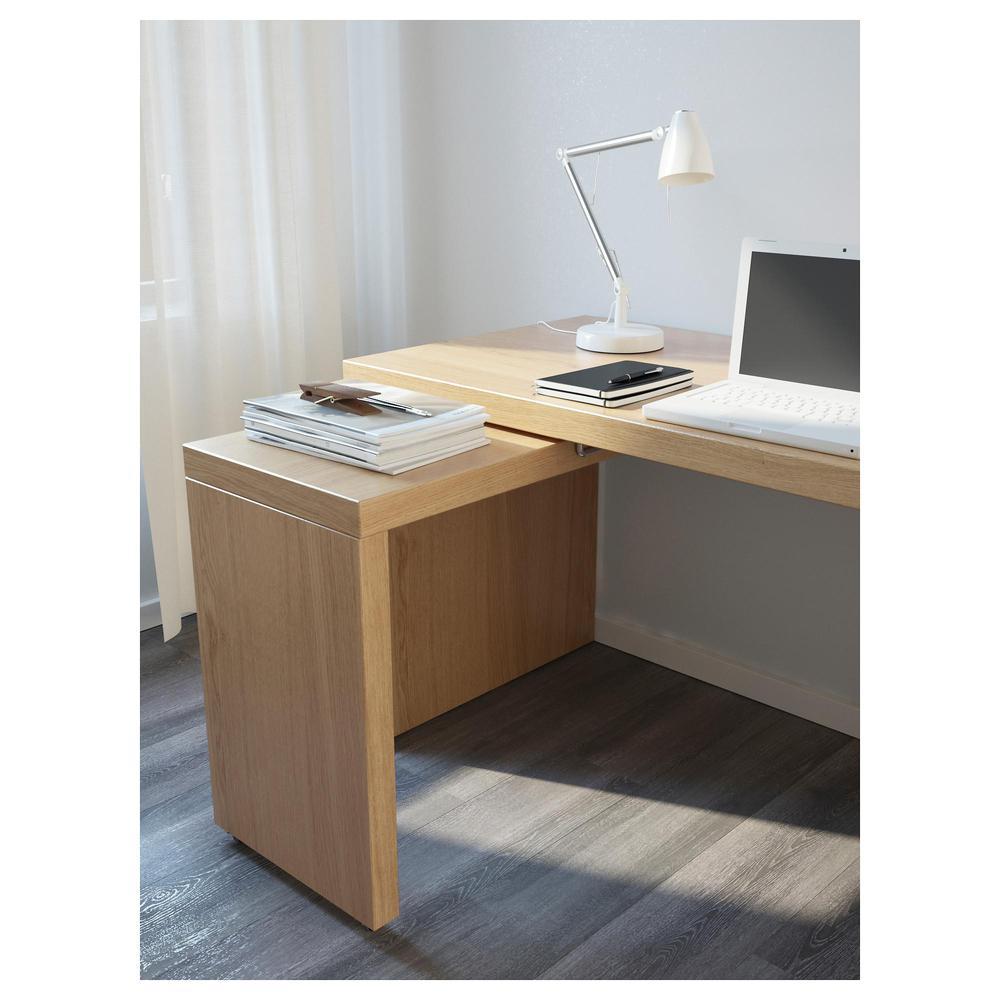 malm schreibtisch mit ausziehbarer platte eichenfurnier. Black Bedroom Furniture Sets. Home Design Ideas