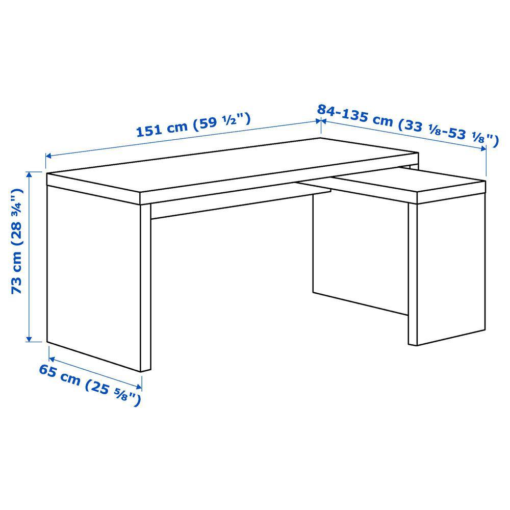 Ikea malm schreibtisch  MALM Schreibtisch mit ausziehbarer Platte - Eichenfurnier (002.141 ...