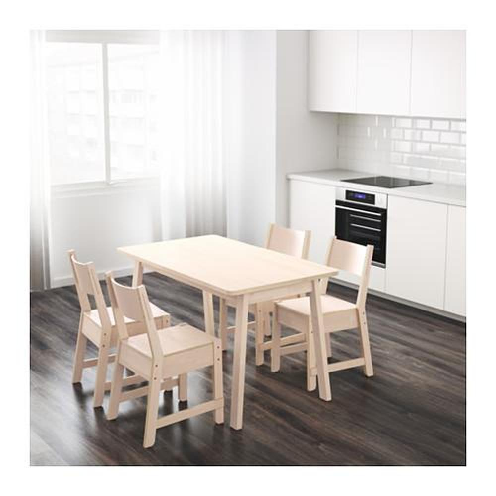 NORRÅKER bord vit björk cm 125x74
