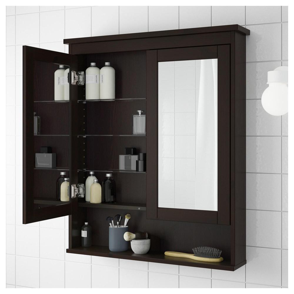 HEMNES Spiegelschrank mit 2 Türen - Fleck schwarz-braun, 83x16x98 cm ...