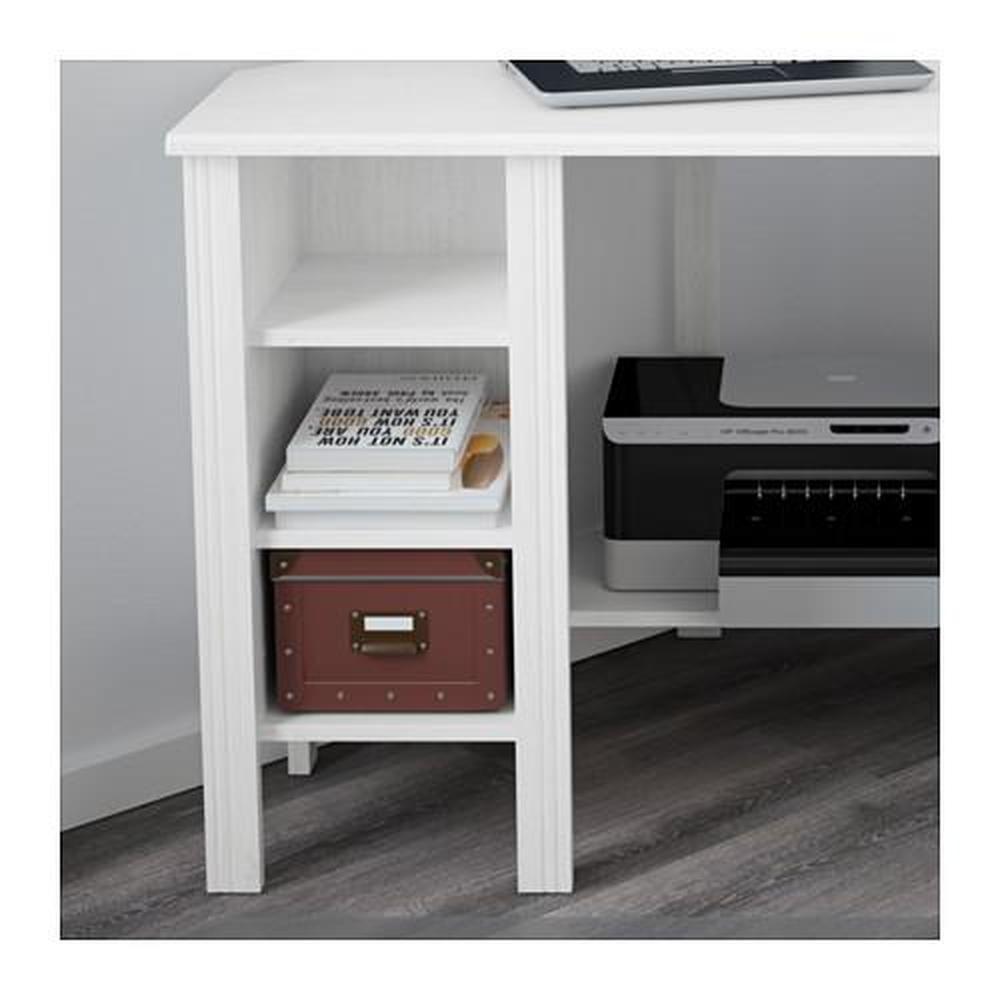 Brusali scrivania ad angolo bianco for Scrivania angolo ikea