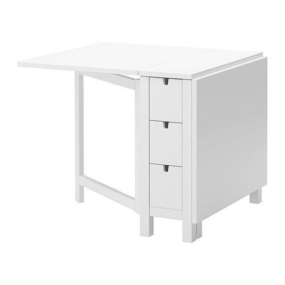 NORDEN Tisch klappbar glänzend weiß chrom