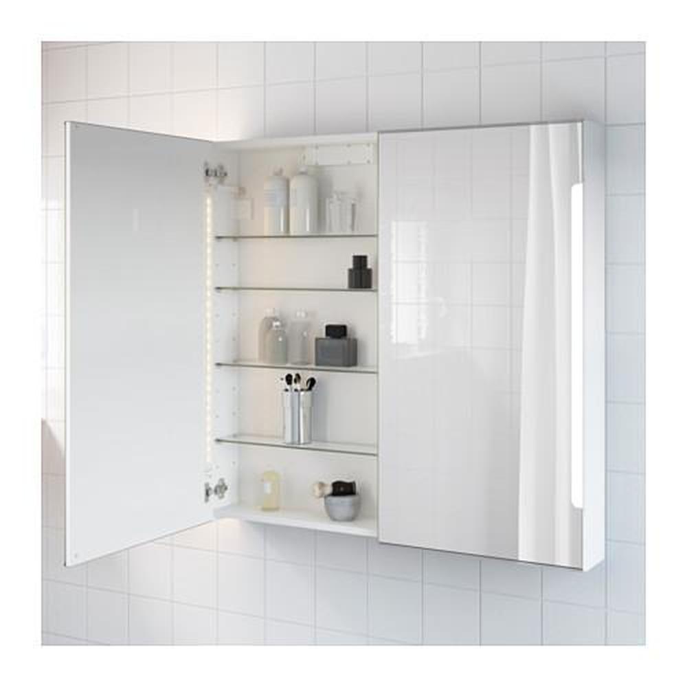 STORJORM spegelskåp 2dörrar bakgrundsbelysning vit 100x14x96 cm