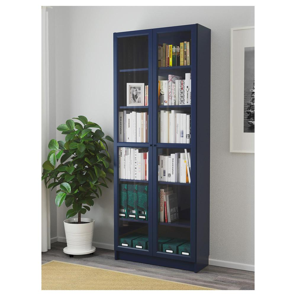 Ikea Libreria Billy Ante.Billy Libreria Con Ante In Vetro Blu Scuro 203 238 05