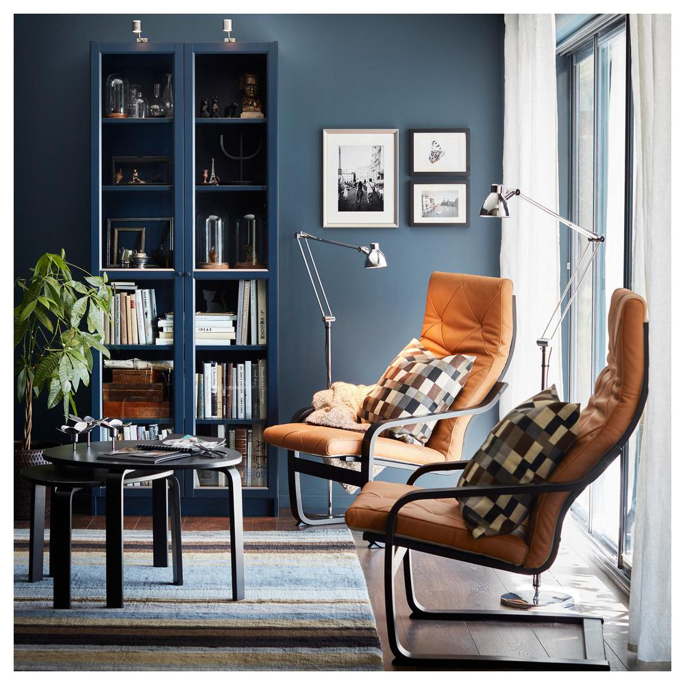 Billy Bookcase With Glass Doors Dark Blue 203 238 05