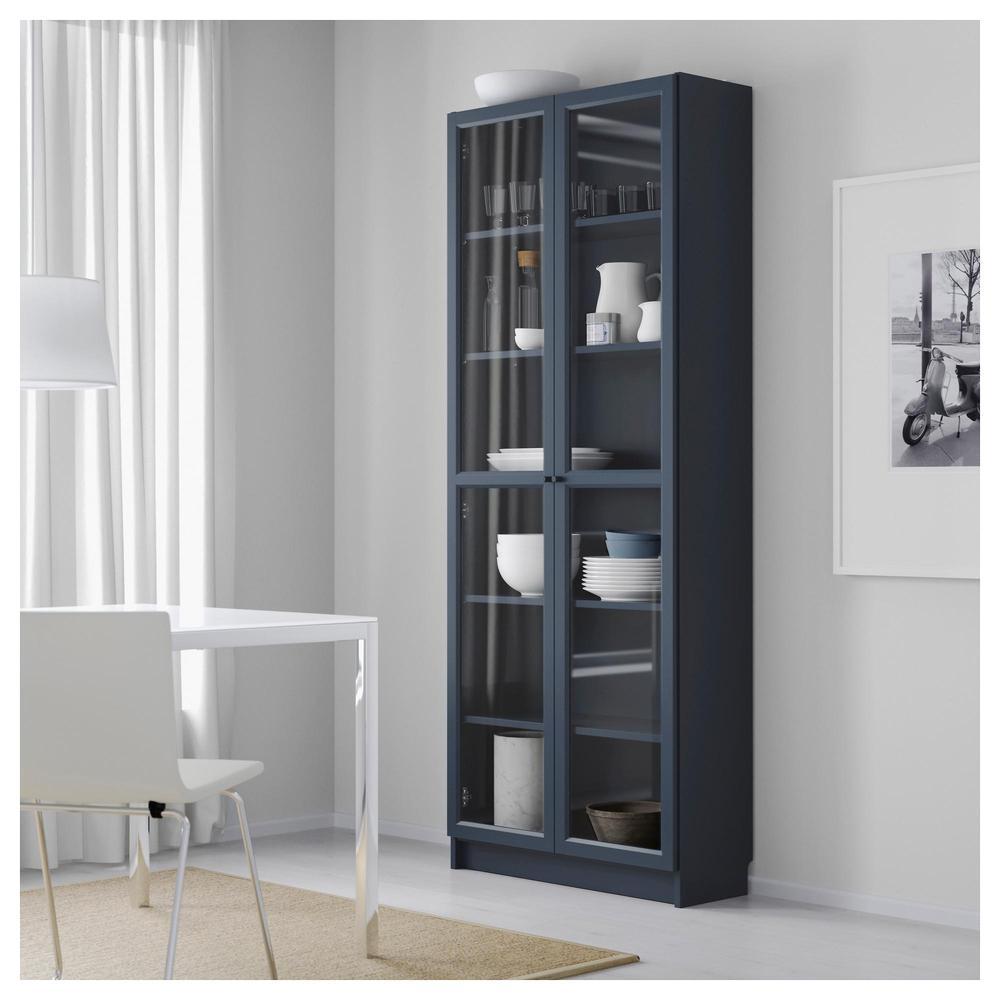 Libreria Ikea Con Ante In Vetro.Billy Libreria Con Ante In Vetro Blu Scuro