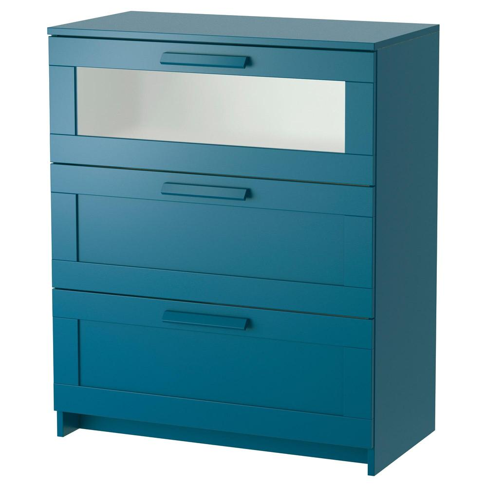 BRIMNES Chest of drawers with 3 drawers dark green blue frosted glass, 78×96 cm (203 492 59