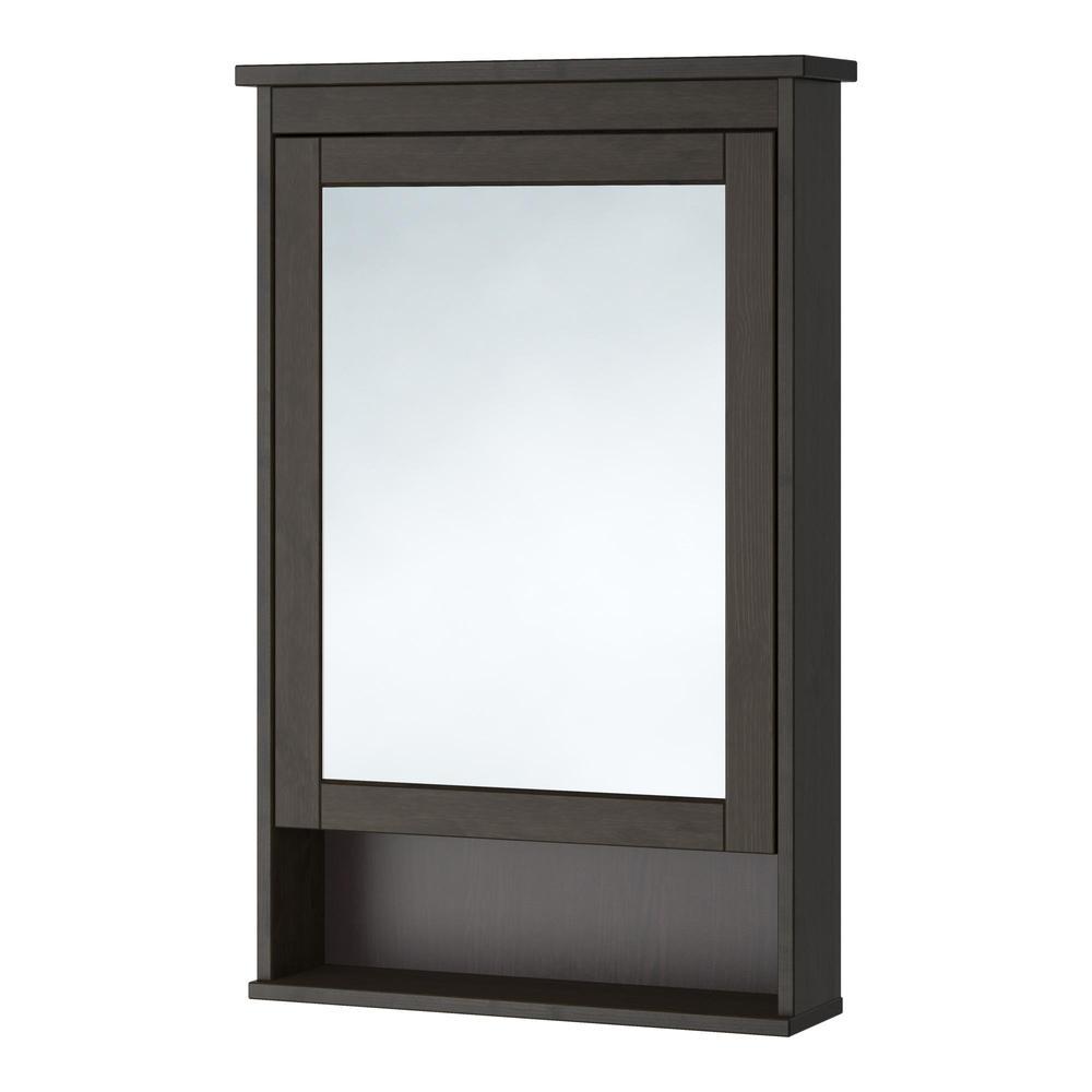 Hemnes spiegelschrank mit 1 t r fleck schwarz braun 203 for Bad spiegelschrank schwarz
