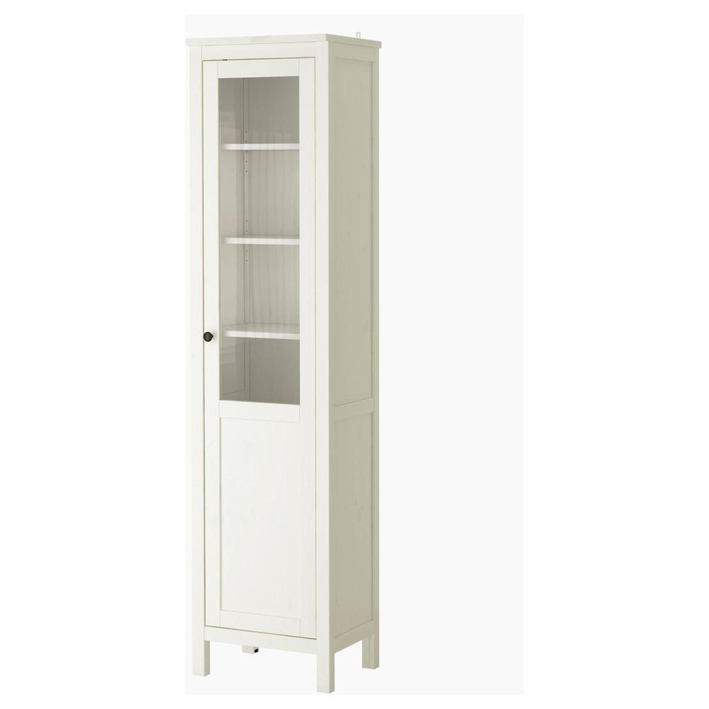 hemnes cabinet avec portes sourdes / verres - tache blanc (303.734