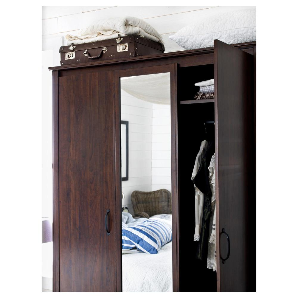 brusal wardrobe 3 door brown reviews price where to buy. Black Bedroom Furniture Sets. Home Design Ideas