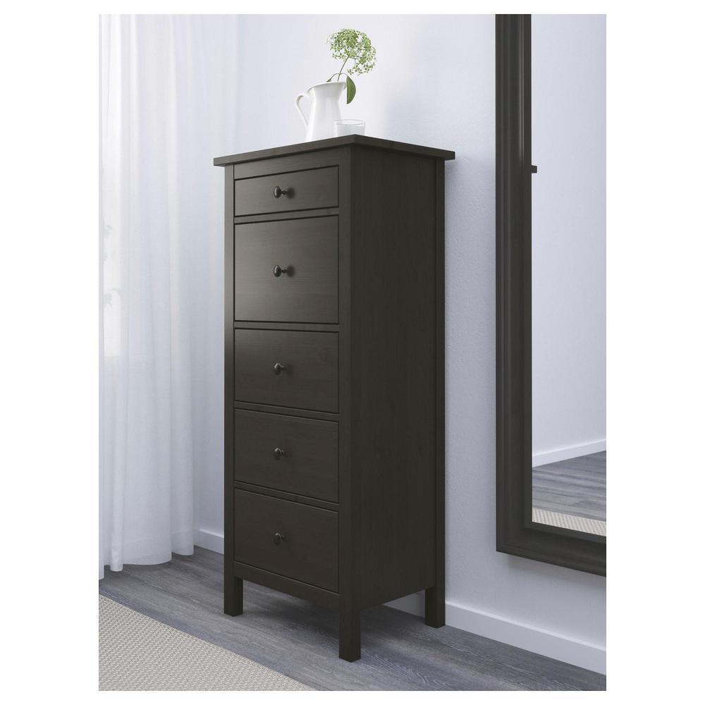 hemnes kommode mit 5 schubladen schwarz und braun bewertungen preis wo kaufen. Black Bedroom Furniture Sets. Home Design Ideas