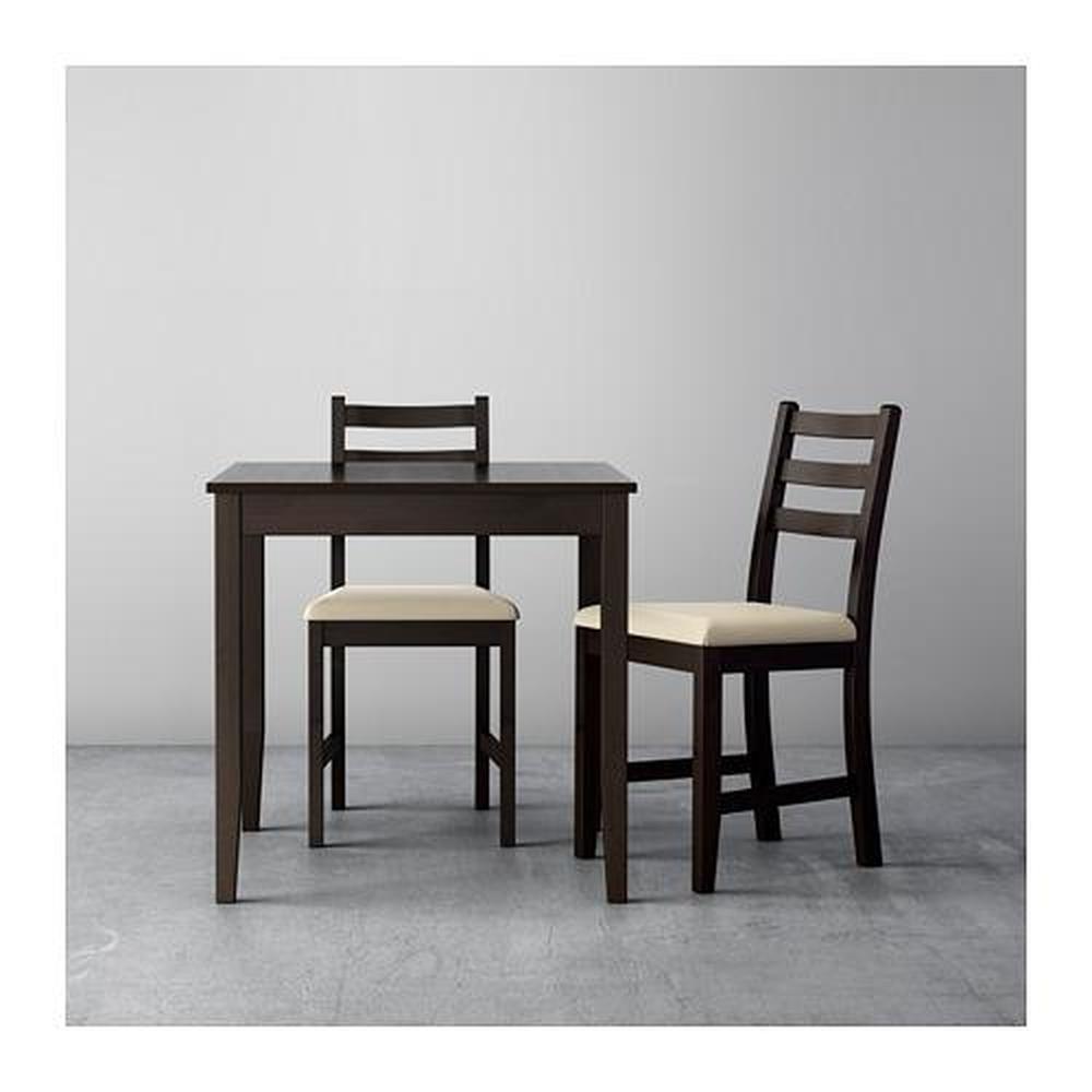 LERHAMN bord och 2 stol svart brun Vittarid beige