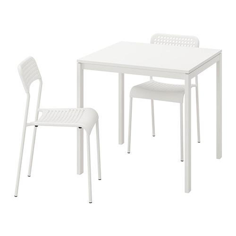 ADDE MELLTORP bord og 2 stol hvit