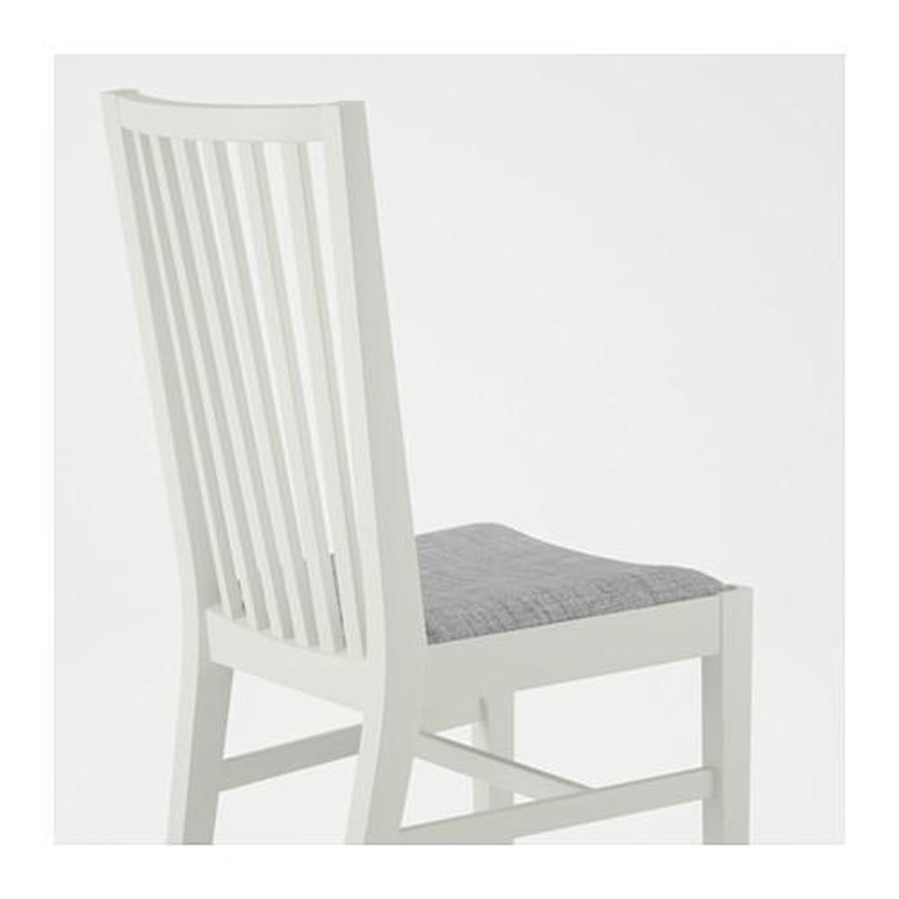 NORRNÄS BJURSTA bord och 4 stol vit Isunda grå (890.464