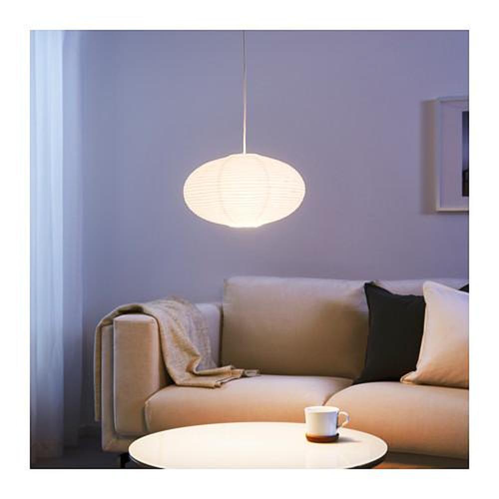 SOLLEFTEÅ lampskärm för hängande lampa rund form vit