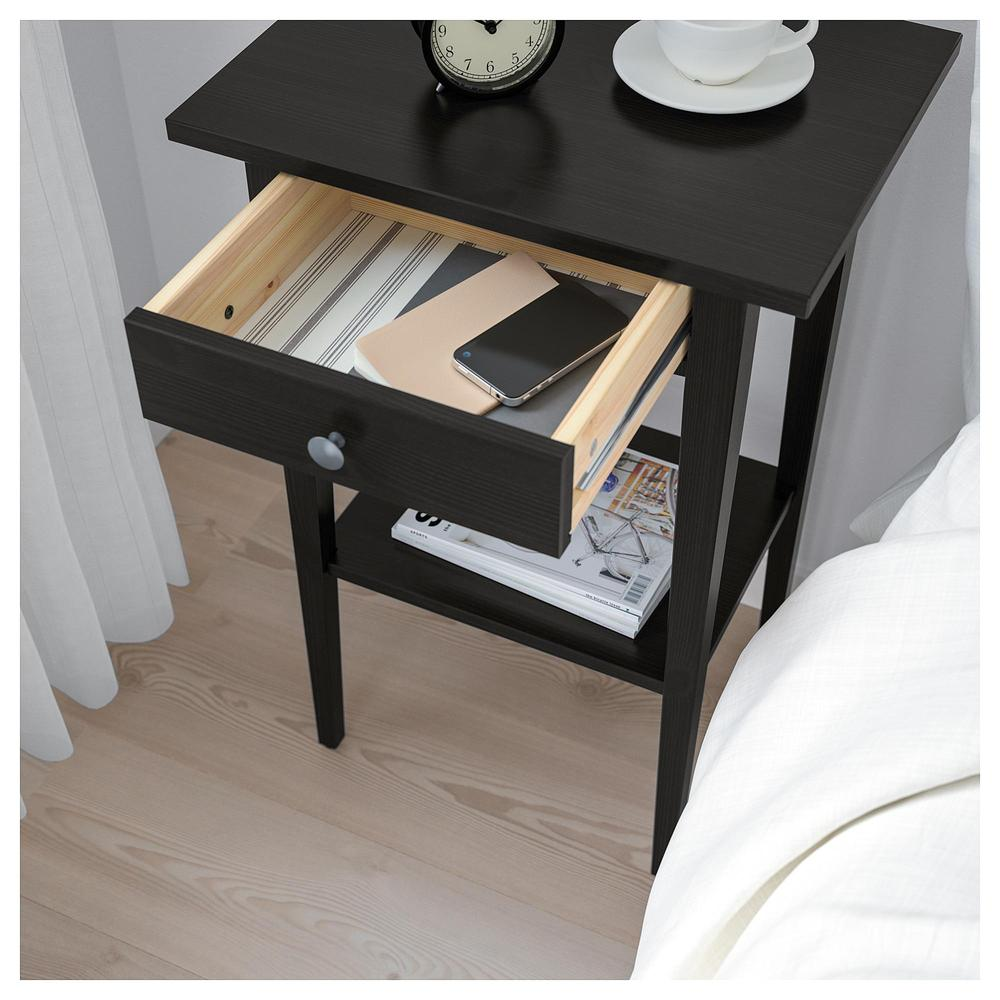 Ikea Table De Nuit hemnes bedside table - black-brown