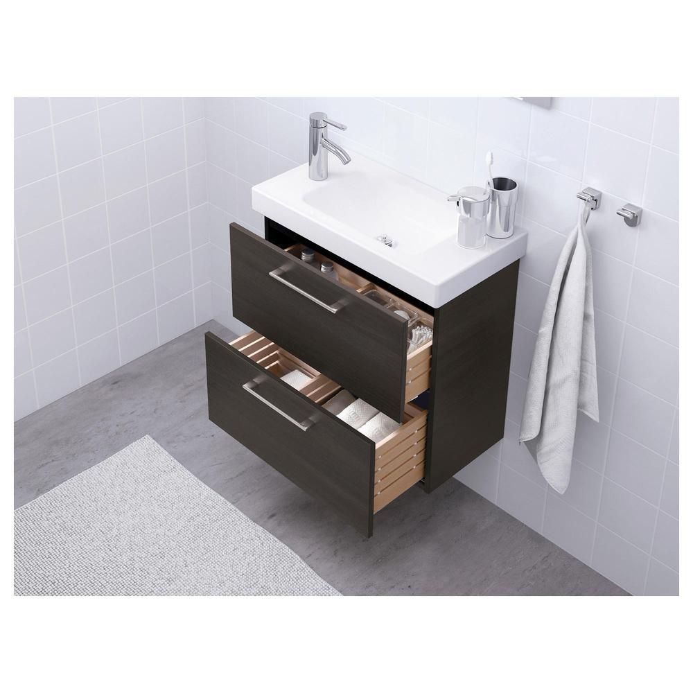 GODMORGON mobile lavello con cassetti 2 nero marrone, 60x32x58 cm