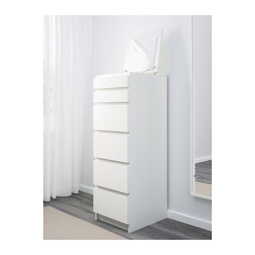 Commode malm avec tiroirs 6 blanc verre miroir avis prix o acheter - Commode miroir ikea ...