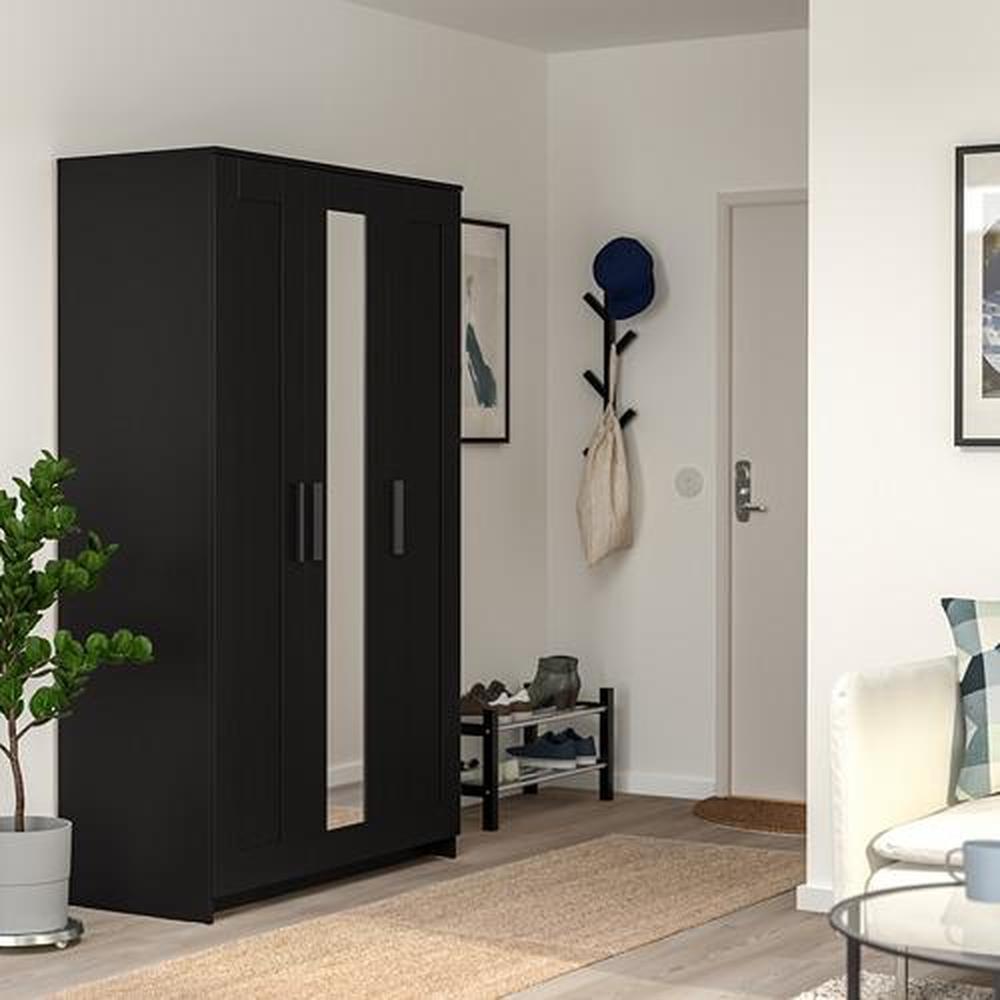 BRIMNES wardrobe 3-door black