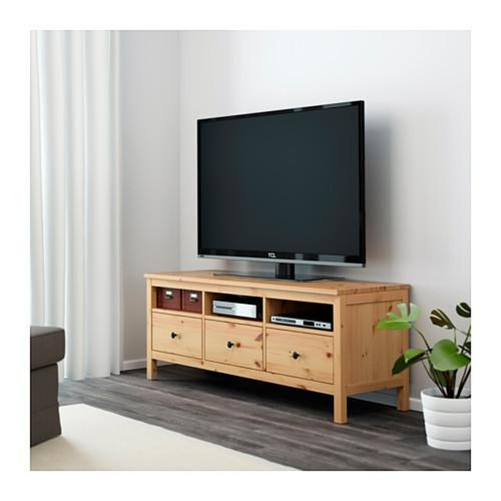 Σκηνή τηλεόρασης HEMNES ανοιχτό καφέ 148x47x57 cm