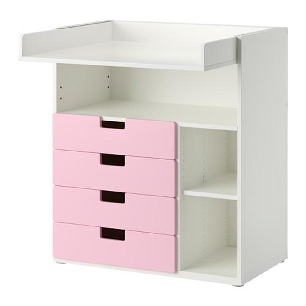 Cambiador STUVA con cajones 4 blanco rosa