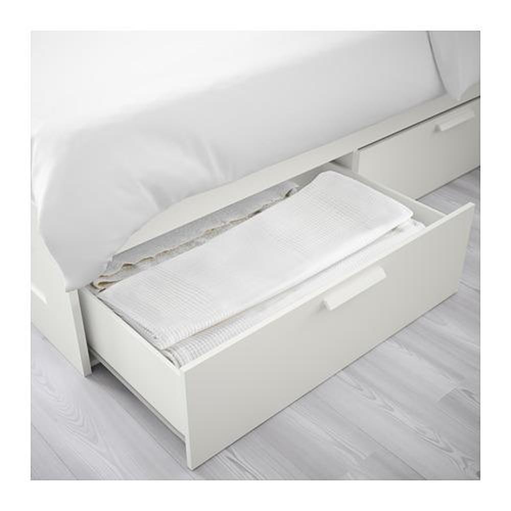 Brimnes Cadre De Lit Avec Tiroirs Blanc 140x200 Cm