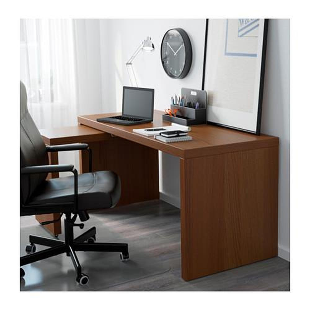 malm desk with sliding panel brown wood stain ash veneer reviews price where to buy. Black Bedroom Furniture Sets. Home Design Ideas