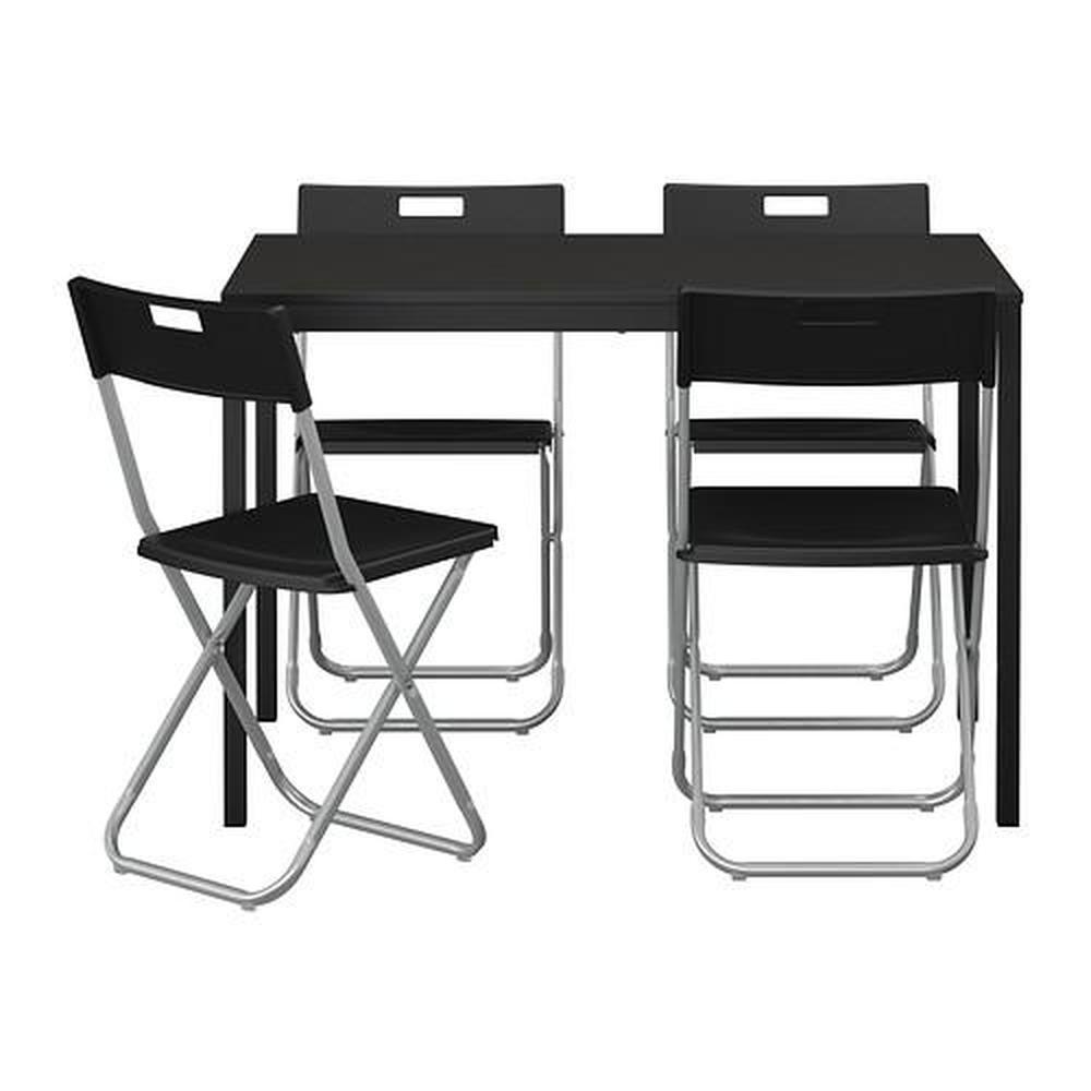 TÄRENDÖ ADDE Asztal és 4 szék, fekete IKEA