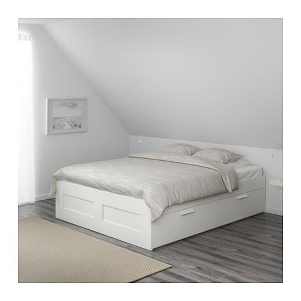 Brimnes Bed Frame With White Leirsund Boxes