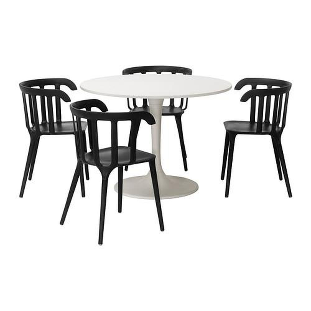 Τραπέζι DOCKSTA IKEA PS 2012 και καρέκλα 4 λευκό μαύρο 105 cm