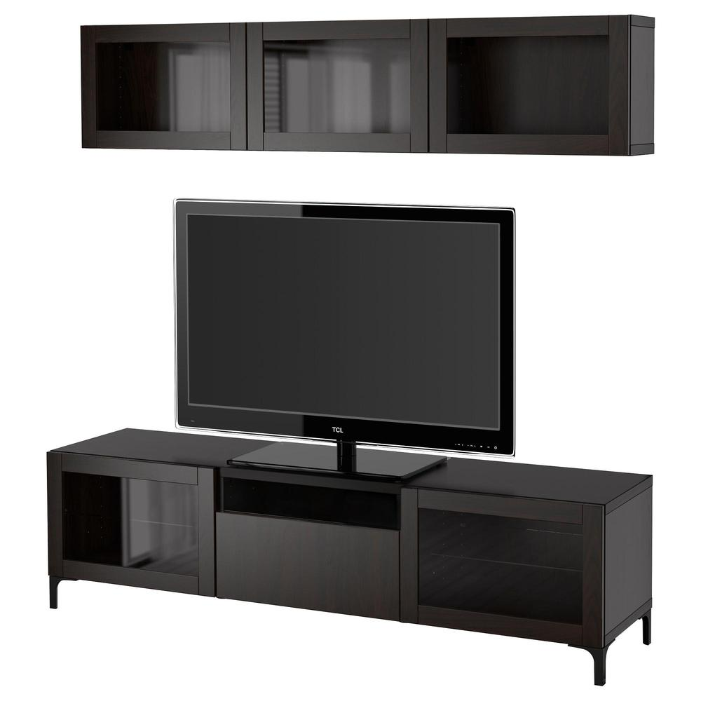 bessto kabinett f r tv kombinierte glast ren lappviken sindwick schwarzes und braunes. Black Bedroom Furniture Sets. Home Design Ideas