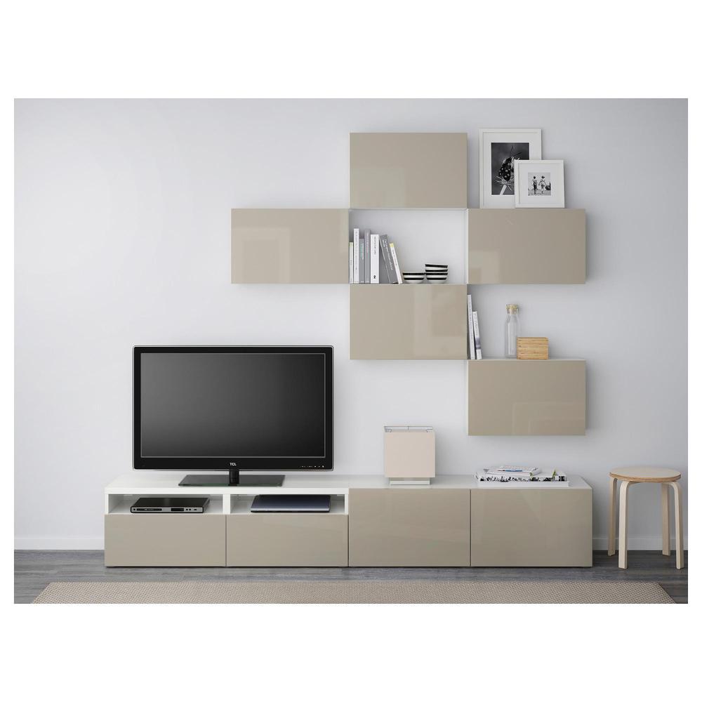 BESTÅ TV-Schrank-Kombination - weiß / Hochglanz Selsviken / beige, Box  Schienen, glatt SCHLIEßEN